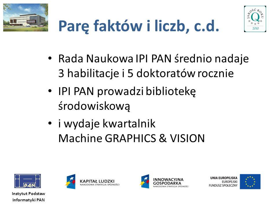 Parę faktów i liczb, c.d. Rada Naukowa IPI PAN średnio nadaje 3 habilitacje i 5 doktoratów rocznie.