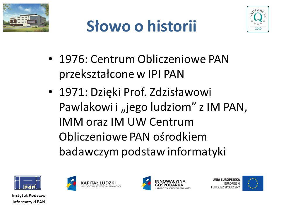 Słowo o historii 1976: Centrum Obliczeniowe PAN przekształcone w IPI PAN.