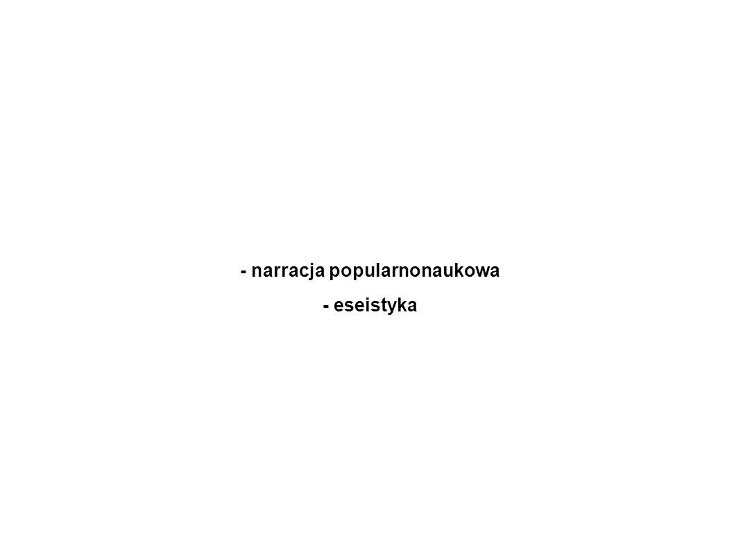 - narracja popularnonaukowa - eseistyka