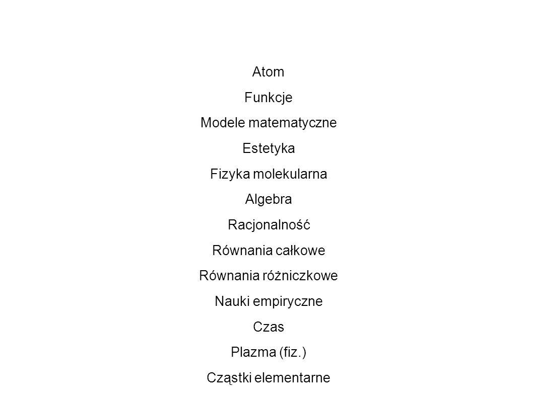 Atom Funkcje. Modele matematyczne. Estetyka. Fizyka molekularna. Algebra. Racjonalność. Równania całkowe.