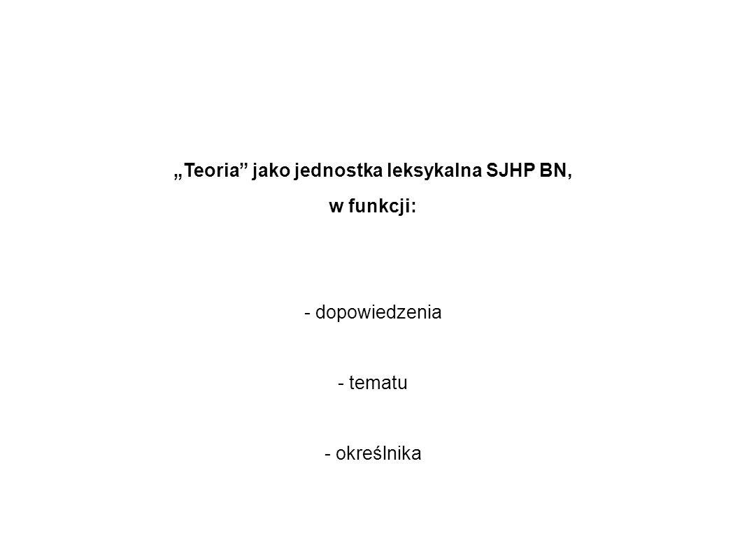 """""""Teoria jako jednostka leksykalna SJHP BN,"""