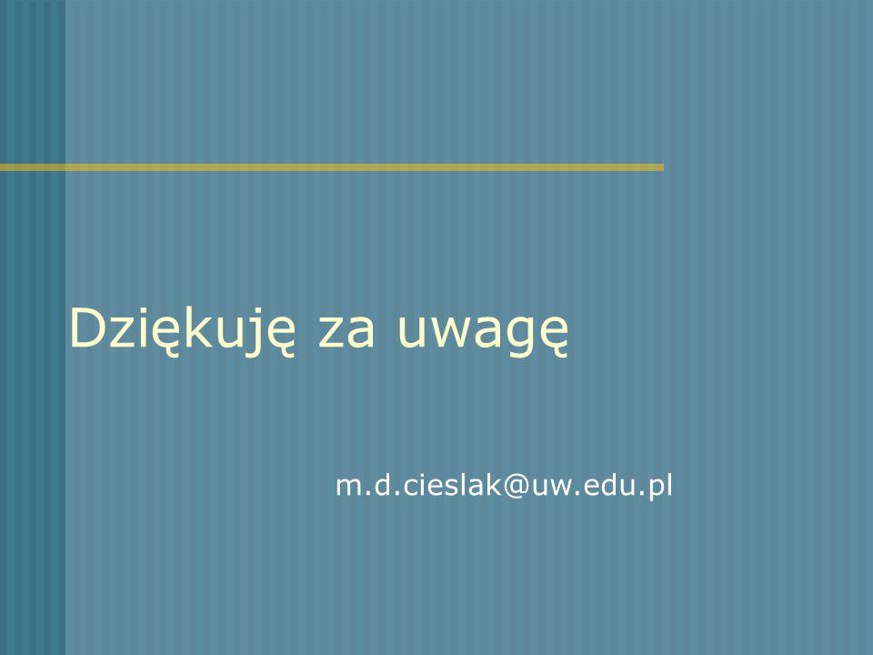 Dziękuję za uwagę m.d.cieslak@uw.edu.pl