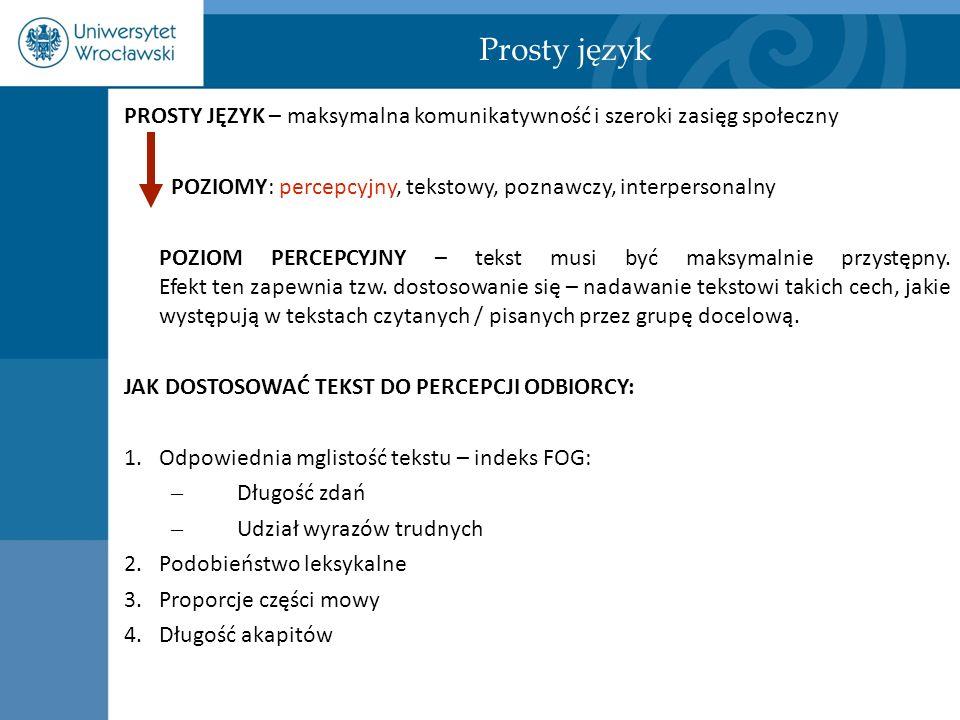 Prosty język PROSTY JĘZYK – maksymalna komunikatywność i szeroki zasięg społeczny. POZIOMY: percepcyjny, tekstowy, poznawczy, interpersonalny.
