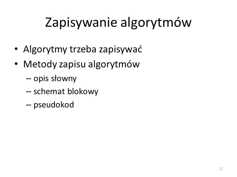 Zapisywanie algorytmów