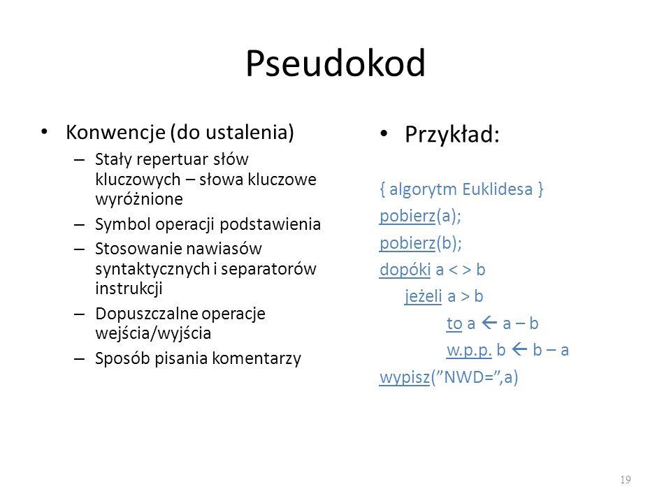 Pseudokod Przykład: Konwencje (do ustalenia)