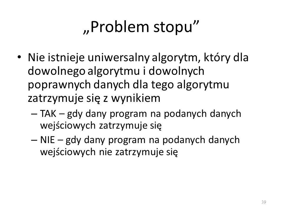 """Problem stopu"
