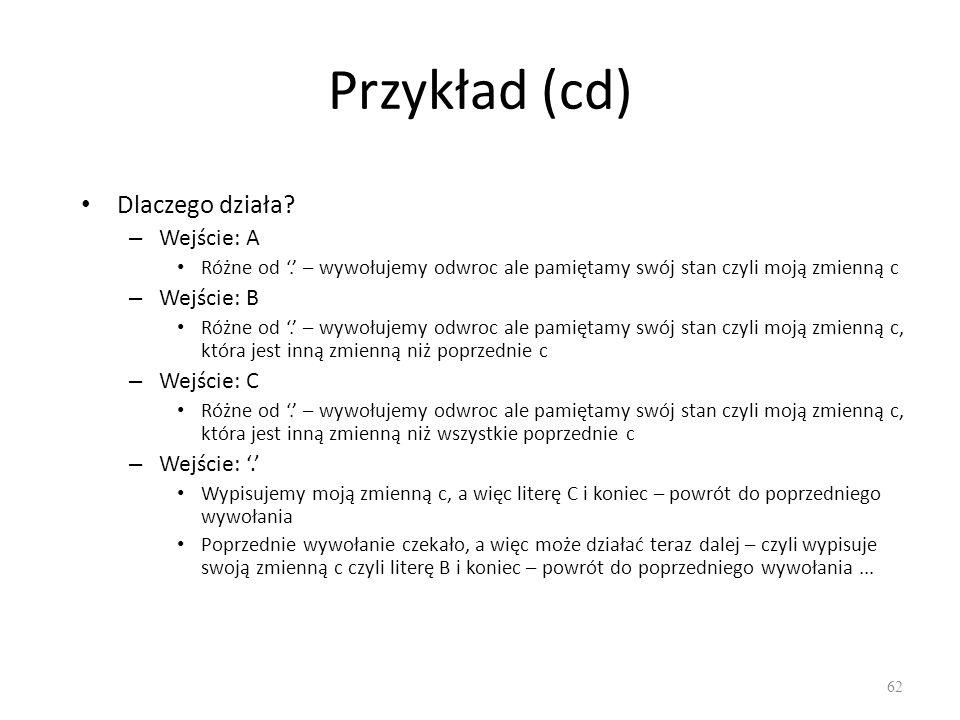Przykład (cd) Dlaczego działa Wejście: A Wejście: B Wejście: C