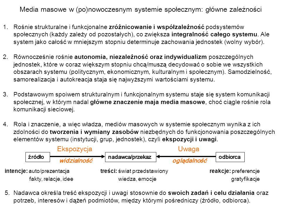Media masowe w (po)nowoczesnym systemie społecznym: główne zależności