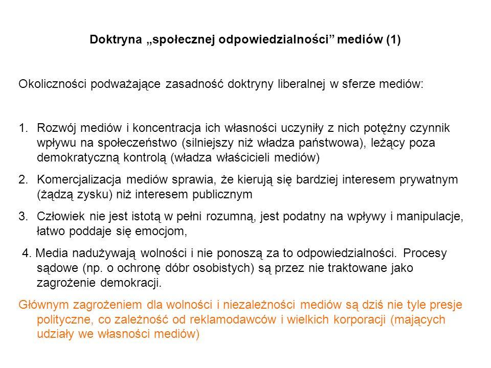 """Doktryna """"społecznej odpowiedzialności mediów (1)"""