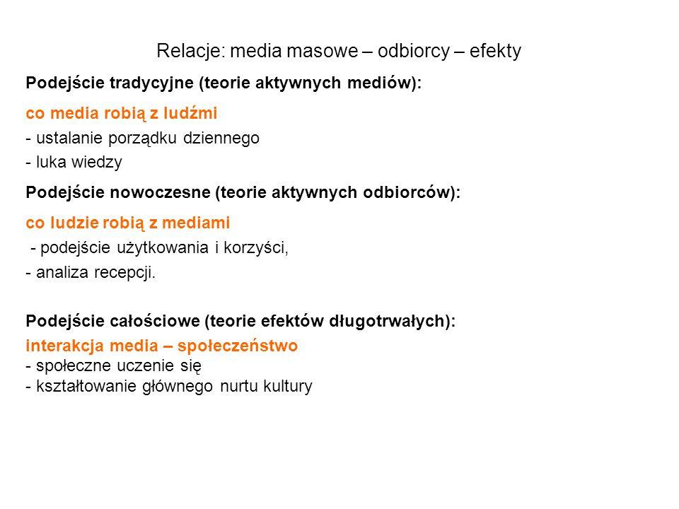 Relacje: media masowe – odbiorcy – efekty
