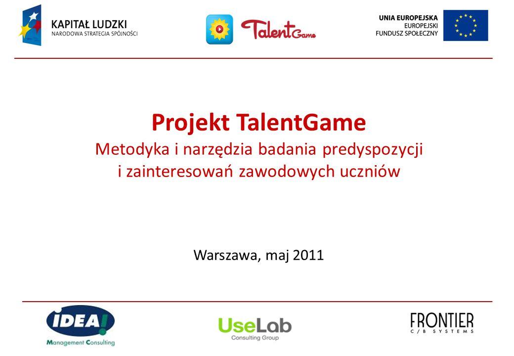 Projekt TalentGame Metodyka i narzędzia badania predyspozycji