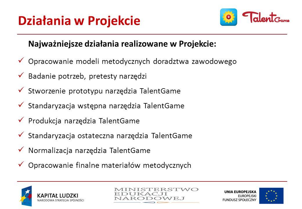Działania w Projekcie Najważniejsze działania realizowane w Projekcie: Opracowanie modeli metodycznych doradztwa zawodowego.