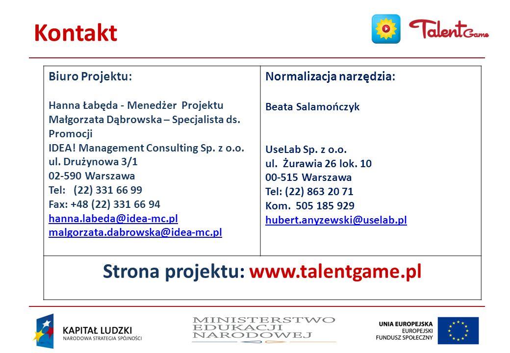 Strona projektu: www.talentgame.pl