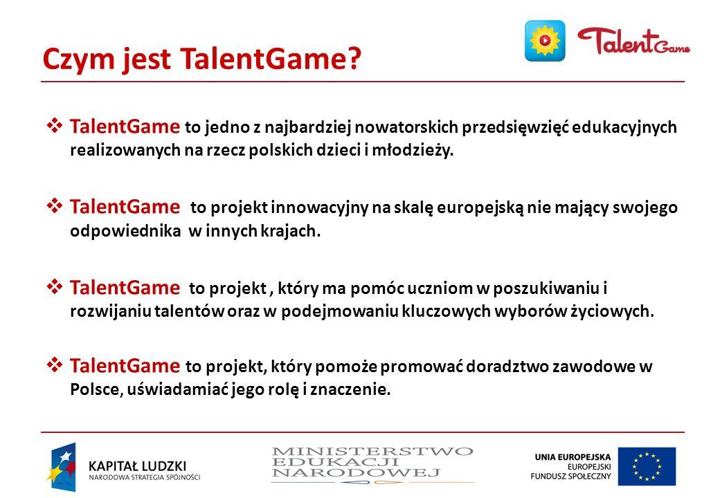 Czym jest TalentGame TalentGame to jedno z najbardziej nowatorskich przedsięwzięć edukacyjnych realizowanych na rzecz polskich dzieci i młodzieży.