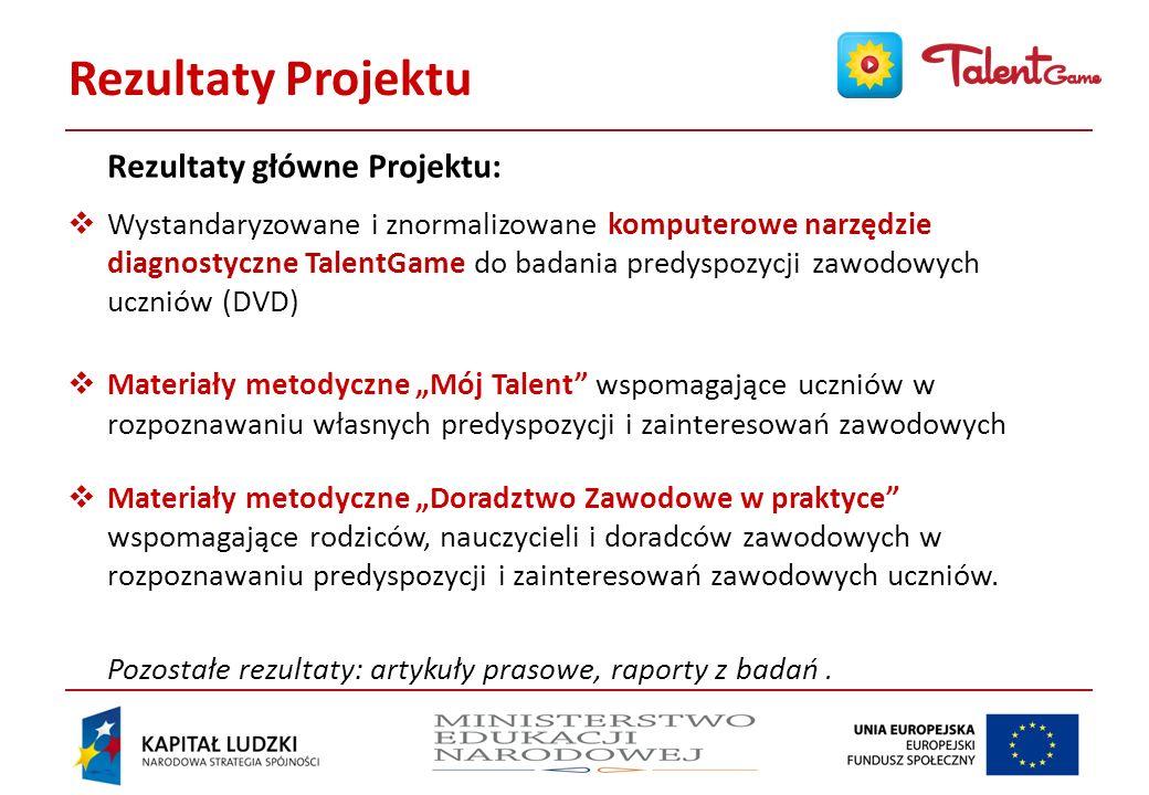 Rezultaty Projektu Rezultaty główne Projektu: