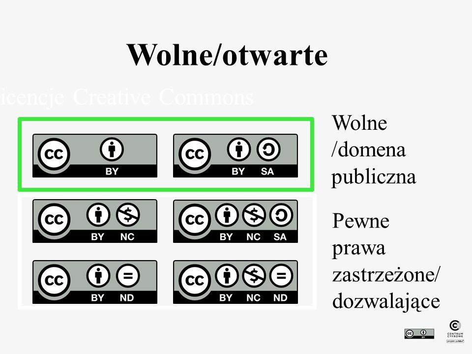 Wolne/otwarte Licencje Creative Commons Wolne /domena publiczna Pewne