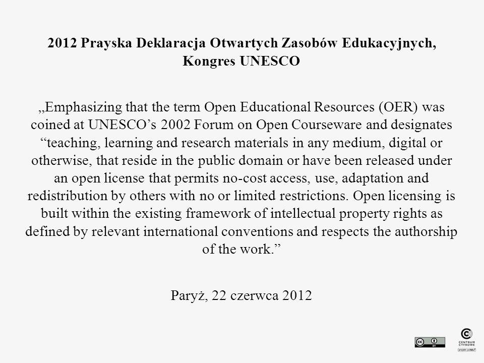 2012 Prayska Deklaracja Otwartych Zasobów Edukacyjnych, Kongres UNESCO