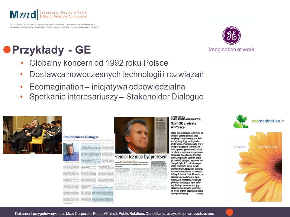 Przykłady - GE Globalny koncern od 1992 roku Polsce