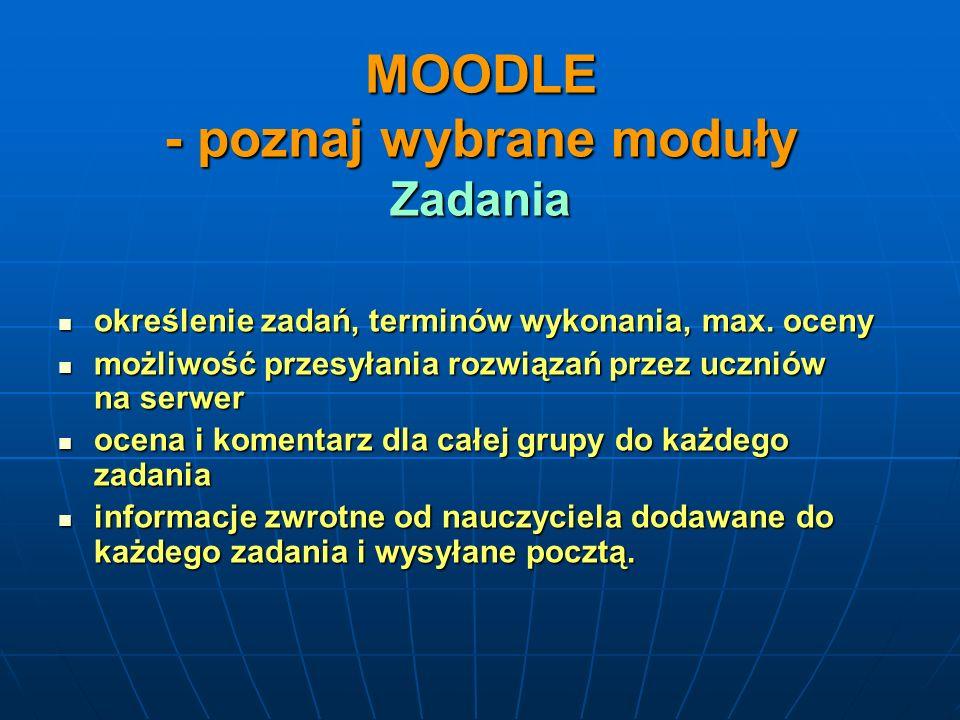 MOODLE - poznaj wybrane moduły Zadania
