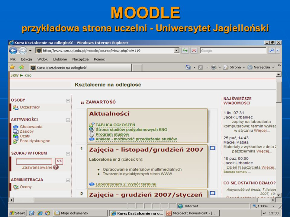 MOODLE przykładowa strona uczelni - Uniwersytet Jagielloński