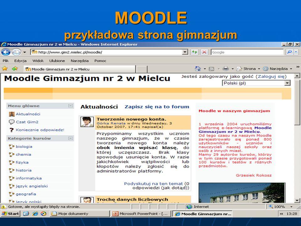 MOODLE przykładowa strona gimnazjum