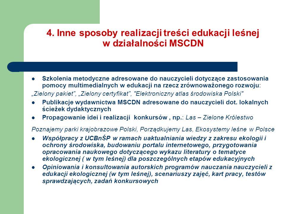 4. Inne sposoby realizacji treści edukacji leśnej w działalności MSCDN