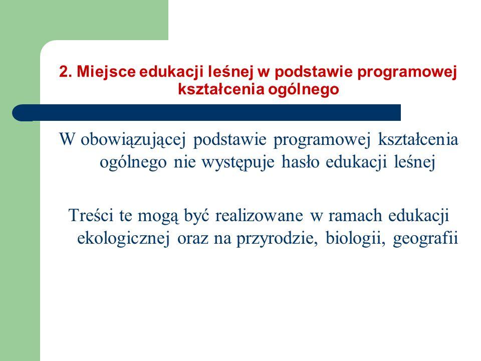 2. Miejsce edukacji leśnej w podstawie programowej kształcenia ogólnego