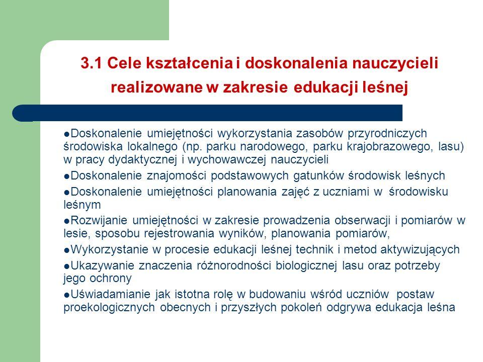 3.1 Cele kształcenia i doskonalenia nauczycieli realizowane w zakresie edukacji leśnej