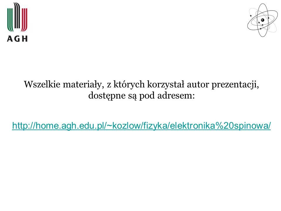 Wszelkie materiały, z których korzystał autor prezentacji, dostępne są pod adresem: http://home.agh.edu.pl/~kozlow/fizyka/elektronika%20spinowa/