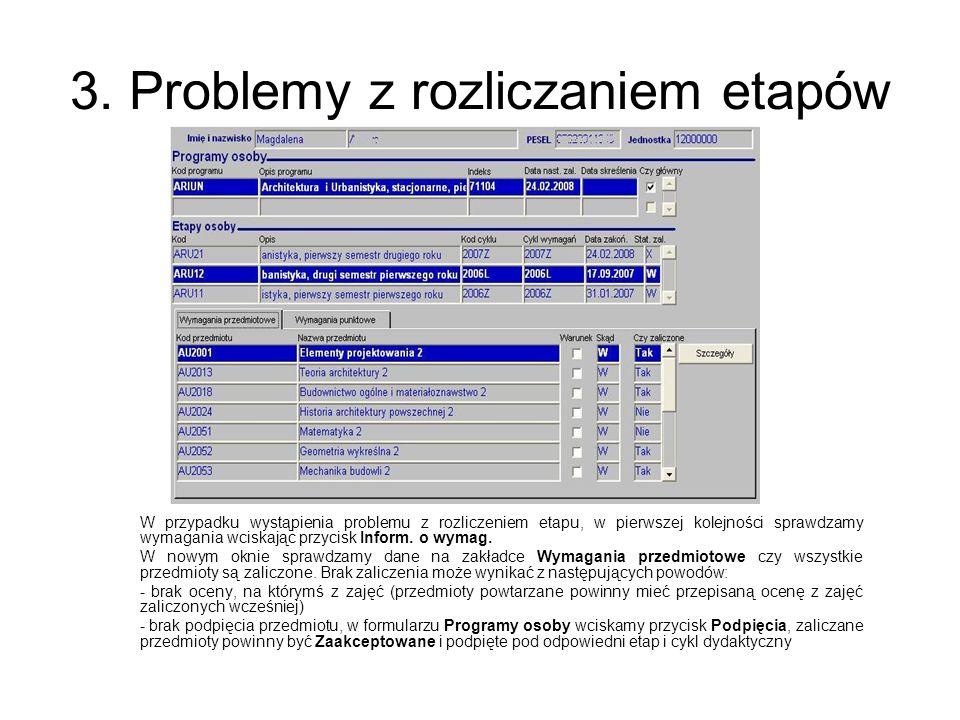3. Problemy z rozliczaniem etapów