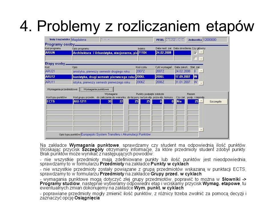 4. Problemy z rozliczaniem etapów