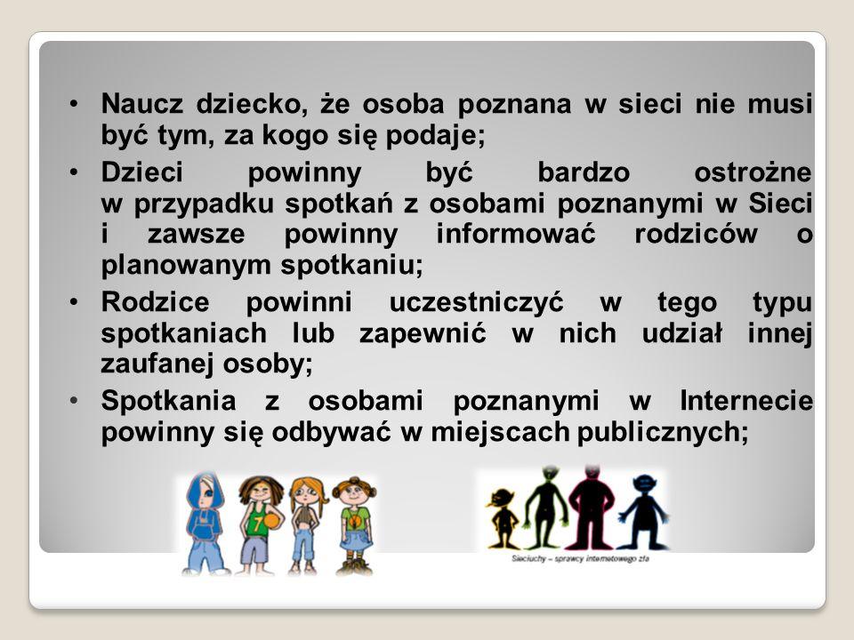 Naucz dziecko, że osoba poznana w sieci nie musi być tym, za kogo się podaje;