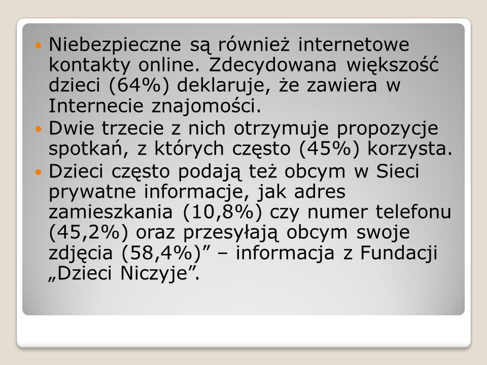 Niebezpieczne są również internetowe kontakty online
