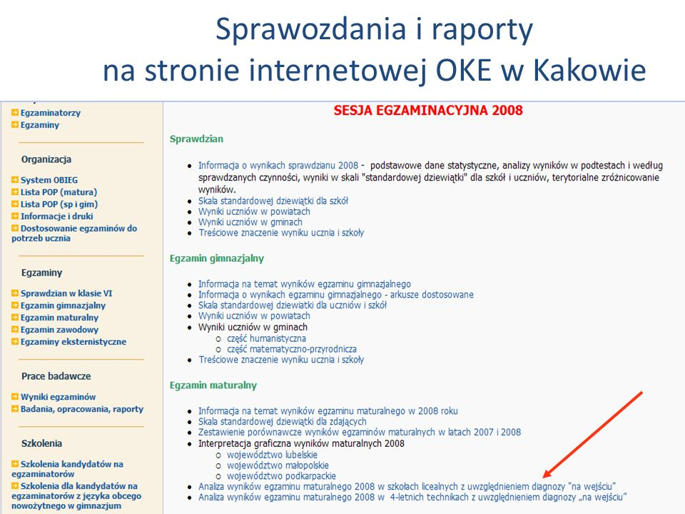 Sprawozdania i raporty na stronie internetowej OKE w Kakowie