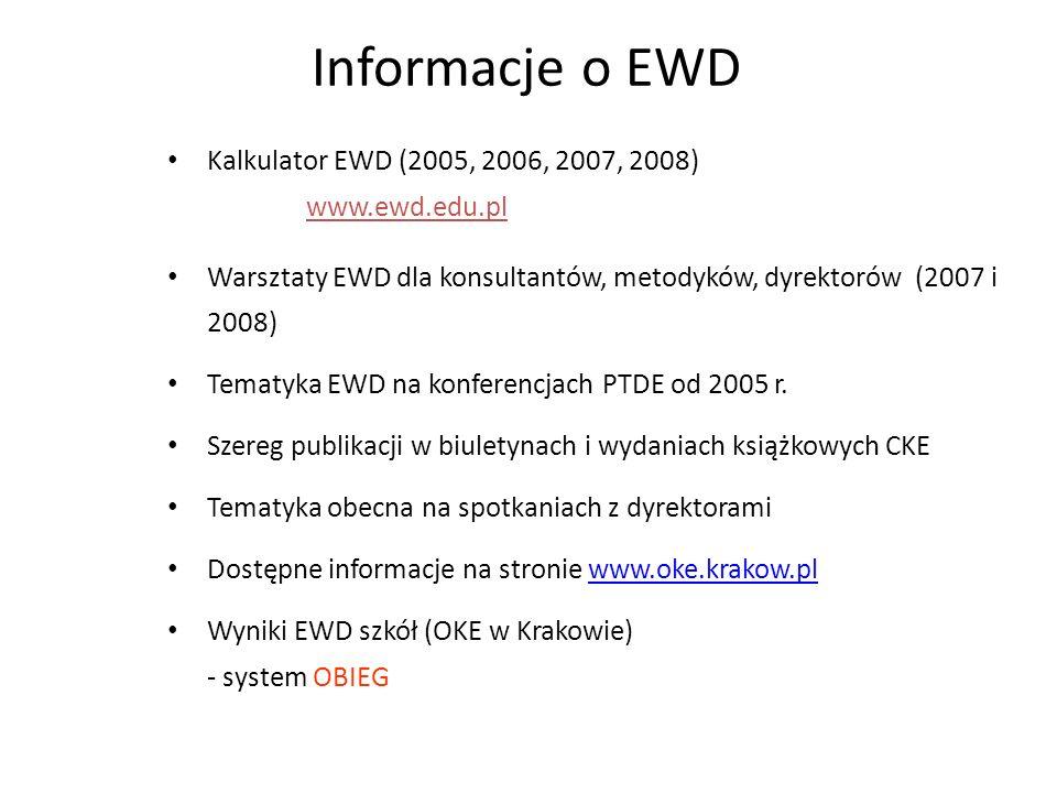 Informacje o EWD Kalkulator EWD (2005, 2006, 2007, 2008) www.ewd.edu.pl.