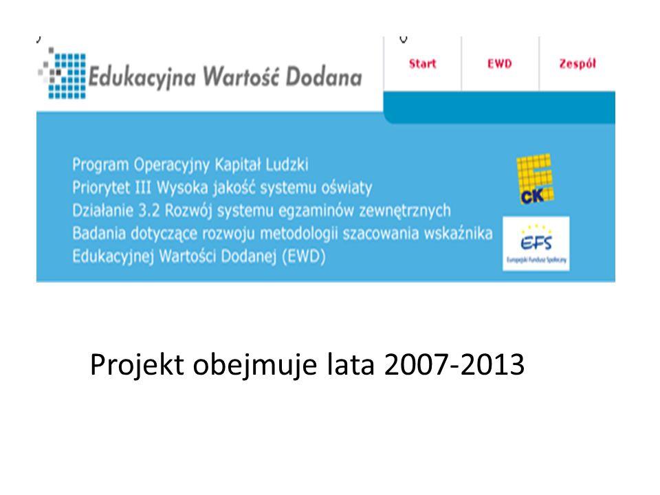 Projekt obejmuje lata 2007-2013