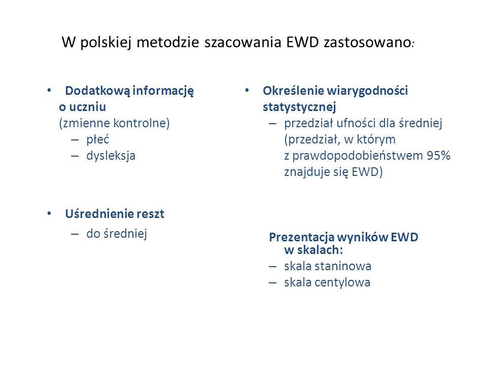 W polskiej metodzie szacowania EWD zastosowano:
