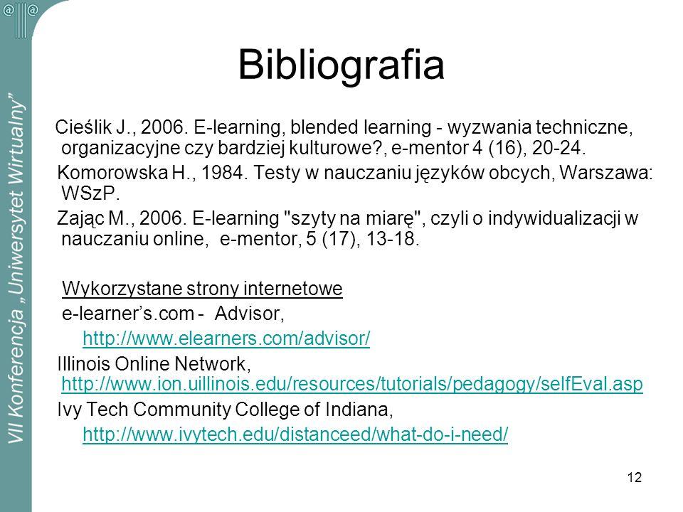 Bibliografia Cieślik J., 2006. E-learning, blended learning - wyzwania techniczne, organizacyjne czy bardziej kulturowe , e-mentor 4 (16), 20-24.