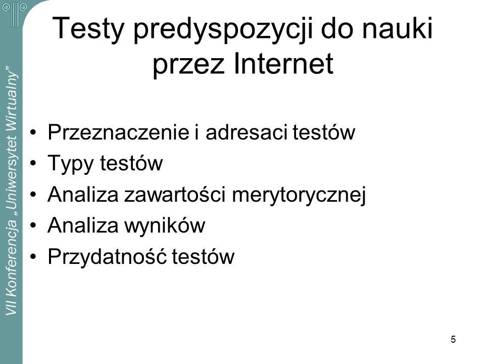 Testy predyspozycji do nauki przez Internet