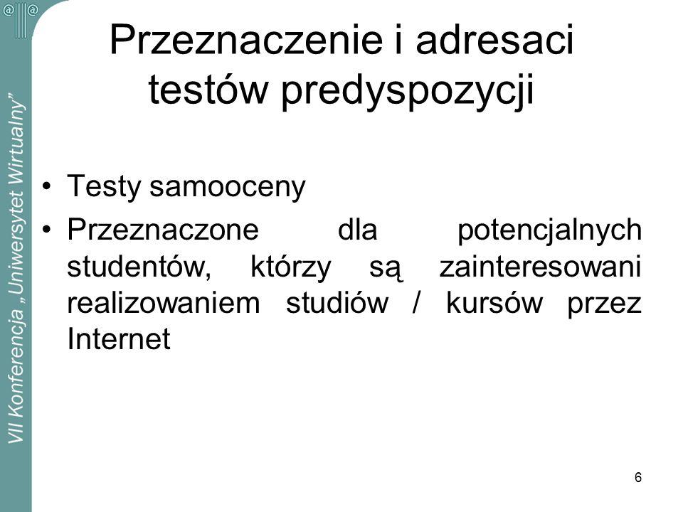 Przeznaczenie i adresaci testów predyspozycji