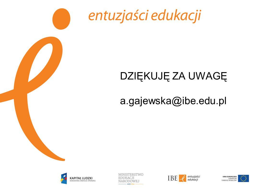 DZIĘKUJĘ ZA UWAGĘ a.gajewska@ibe.edu.pl