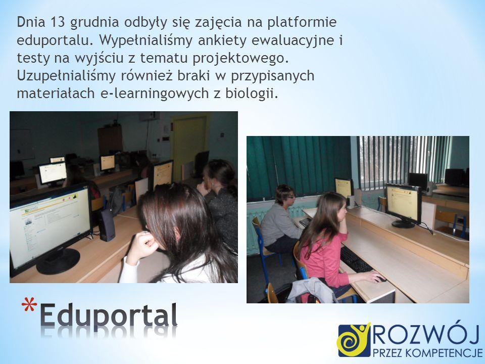 Dnia 13 grudnia odbyły się zajęcia na platformie eduportalu