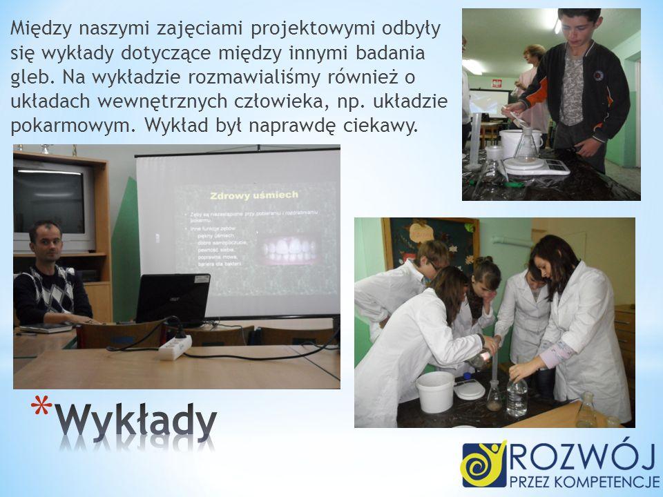 Między naszymi zajęciami projektowymi odbyły się wykłady dotyczące między innymi badania gleb. Na wykładzie rozmawialiśmy również o układach wewnętrznych człowieka, np. układzie pokarmowym. Wykład był naprawdę ciekawy.