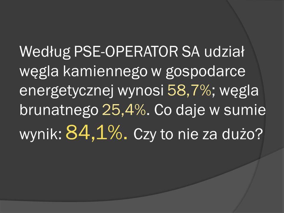 Według PSE-OPERATOR SA udział węgla kamiennego w gospodarce energetycznej wynosi 58,7%; węgla brunatnego 25,4%.