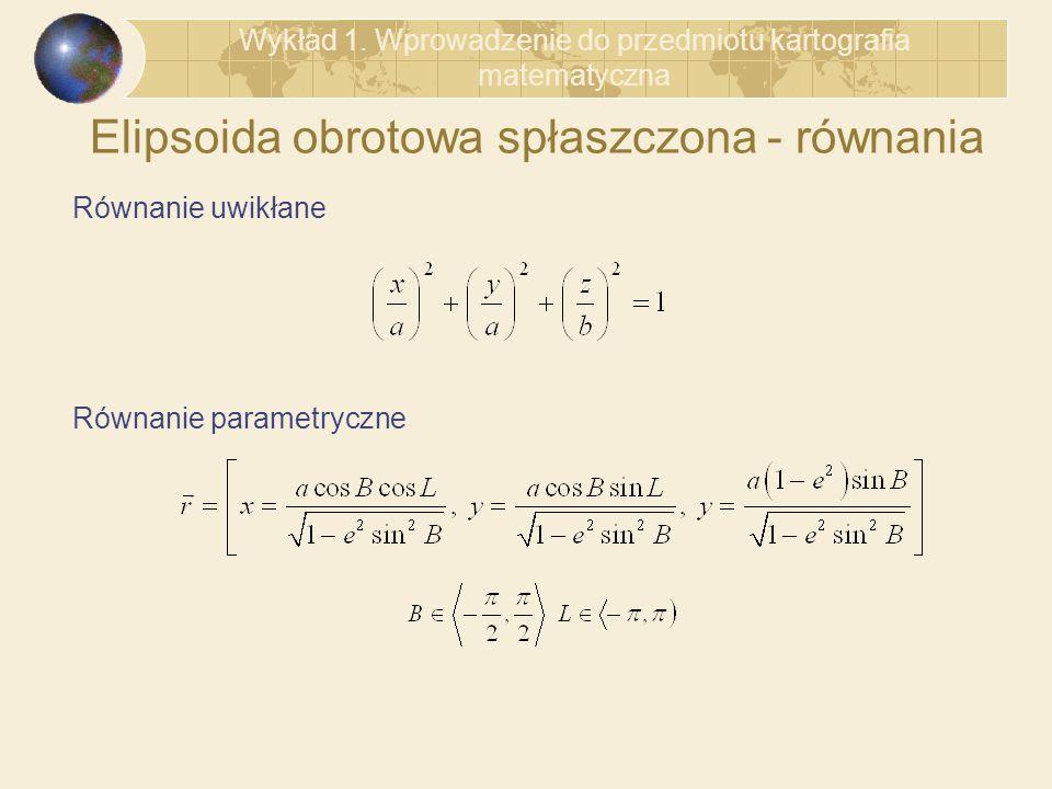 Elipsoida obrotowa spłaszczona - równania