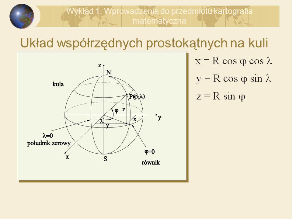 Układ współrzędnych prostokątnych na kuli