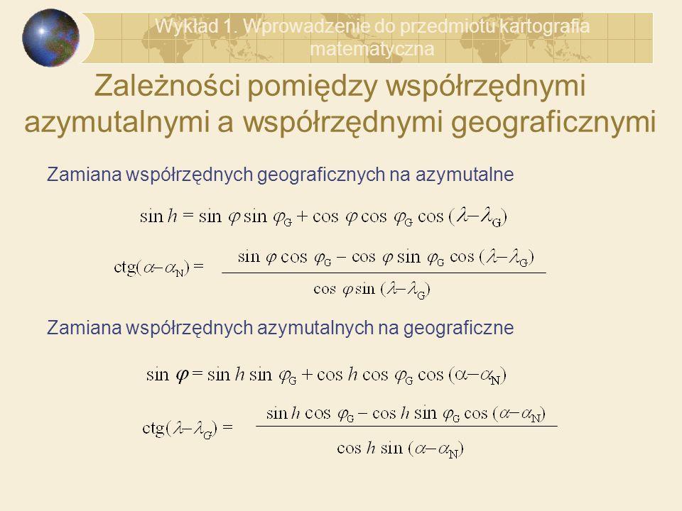 Wykład 1. Wprowadzenie do przedmiotu kartografia matematyczna