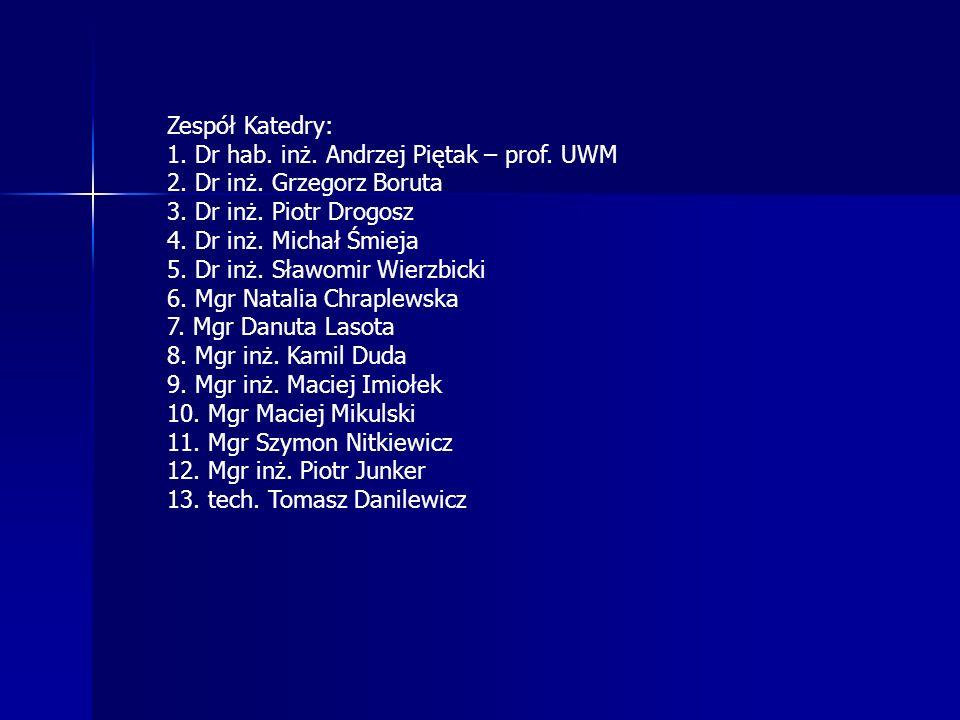 Zespół Katedry: 1. Dr hab. inż. Andrzej Piętak – prof. UWM. 2. Dr inż. Grzegorz Boruta. 3. Dr inż. Piotr Drogosz.