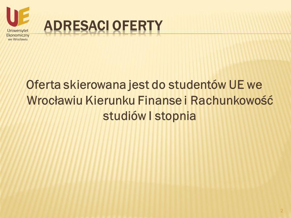 Adresaci ofertyOferta skierowana jest do studentów UE we Wrocławiu Kierunku Finanse i Rachunkowość studiów I stopnia.