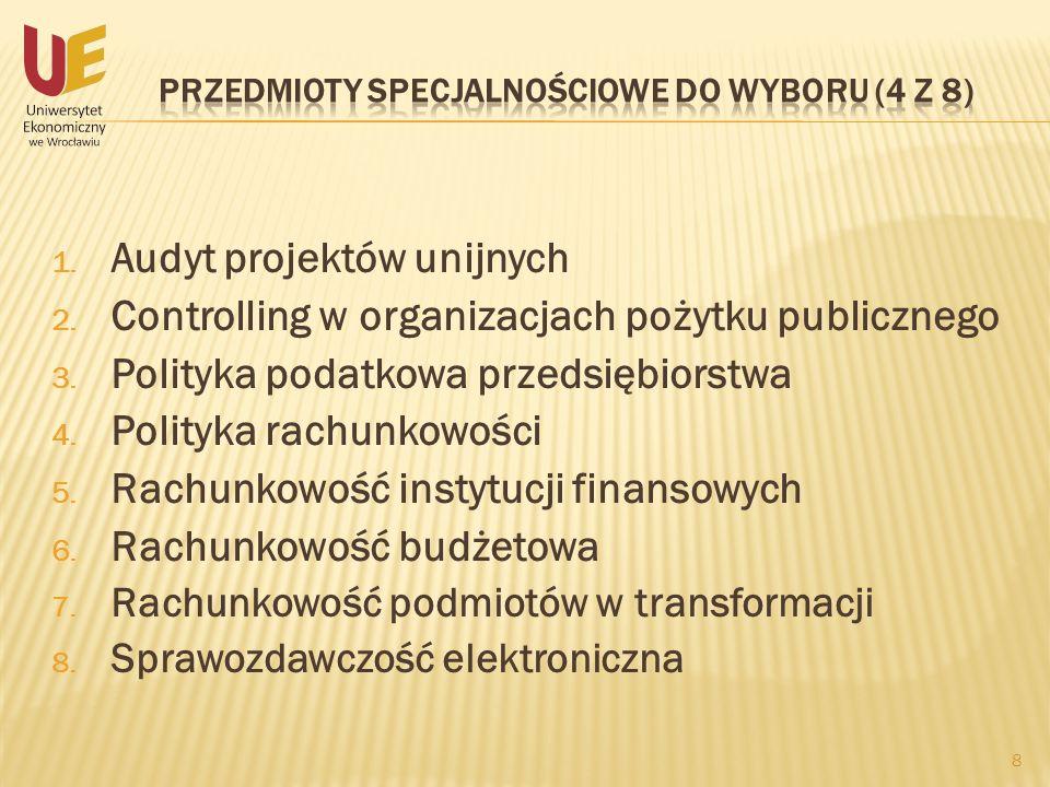 Przedmioty specjalnościowe do wyboru (4 z 8)